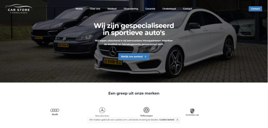 Realisatie website Car Store Cornelissen